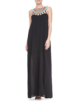 Mara Hoffman Bead-Neck Maxi Coverup Dress