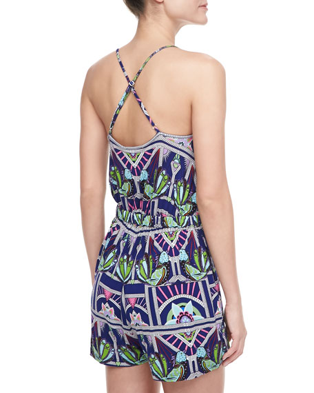 Printed Tie-Waist Jumpsuit Coverup