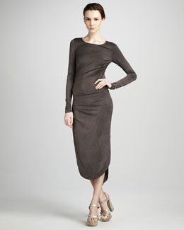 Halston Heritage Gathered Jersey Fishtail Dress