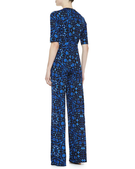 Cabana Printed Front-Zip Jumpsuit