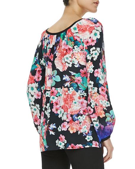 Mezcal Floral-Print Ombre Top
