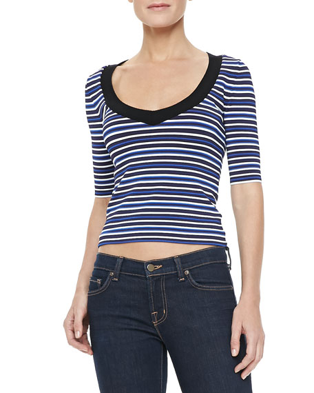 Harbor Top, Black/White/Blue Stripe