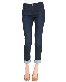 CJ by Cookie Johnson Polished Boyfriend Tacked Ankle-Cuff Jeans