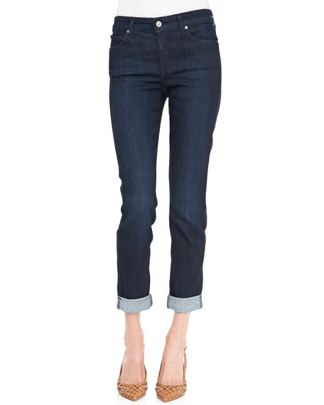 Polished Boyfriend Tacked Ankle-Cuff Jeans