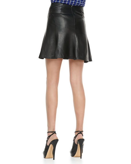 Slick-Back Leather Skirt, Black
