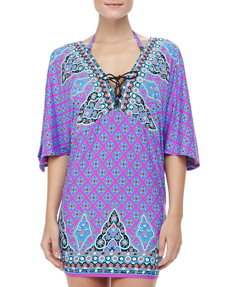 Moroccan Medallion Half-Sleeve Tunic Coverup