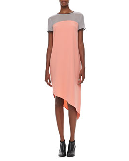 DKNY Colorblock Short-Sleeve Asymmetric Dress