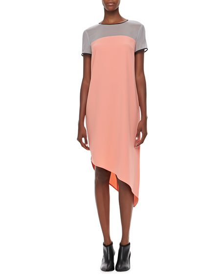 Colorblock Short-Sleeve Asymmetric Dress