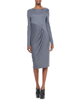 DKNY Long Sleeve Dress with Pleated Front