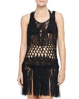 Nanette Lepore Macrame Sleeveless Dress Coverup