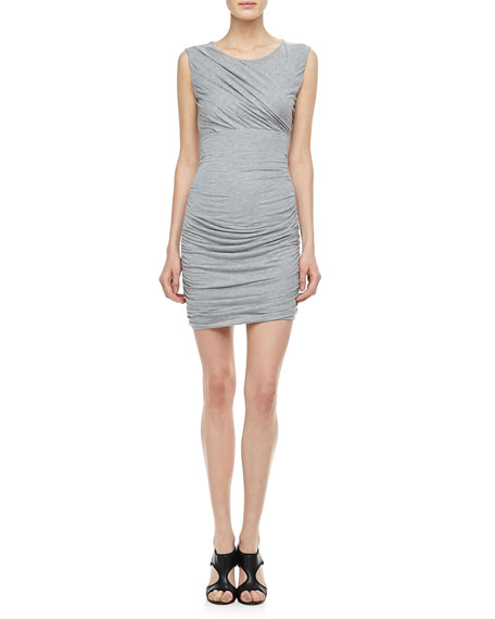 Angelina Short-Sleeve Ruched Dress, Gray