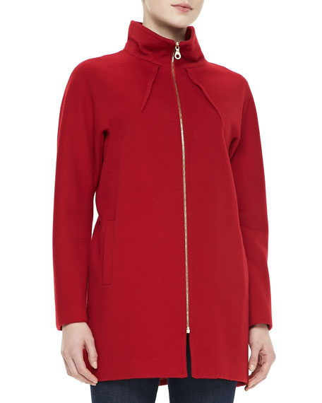 Dolman Long-Sleeve Zip-Front Jacket
