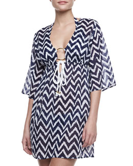 Milly Ava Zigzag Tunic Coverup, Blue/White