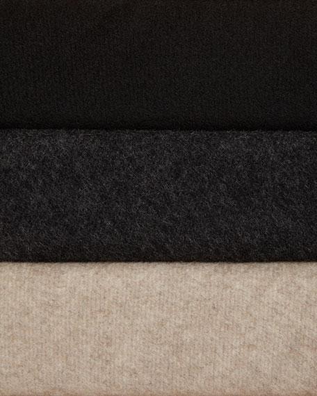 Cashmere Button-Closure Long-Sleeve Cocoon Coat