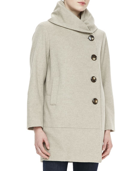 Cashmere Button-Closure Long-Sleeve Cocoon Coat