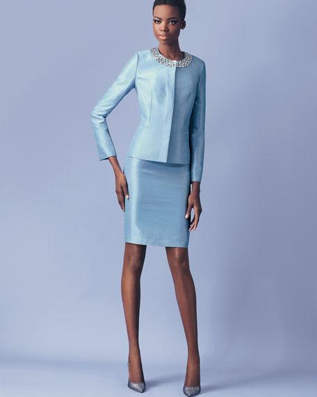 Albert Nipon Long Sleeve Bead Neck Skirt Suit Light Sky