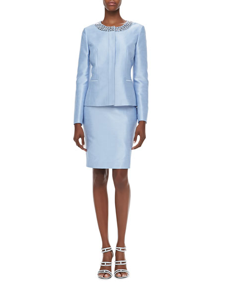 Long-Sleeve Bead-Neck Skirt Suit, Light Sky