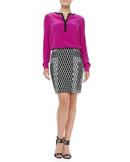 Laury Honeycomb-Print Pencil Skirt