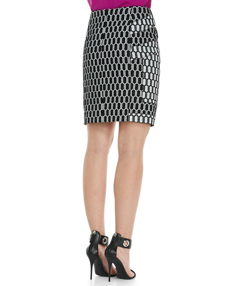 Laury Honeycomb-Print Pencil Skirt