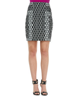 Diane von Furstenberg Laury Honeycomb-Print Pencil Skirt