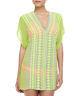Milly Gaudas Embroidered Long-Sleeve Tunic Coverup
