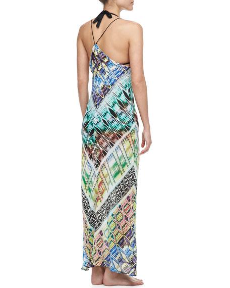 Charlevoid Print Deep V-Neck Maxi Coverup Dress