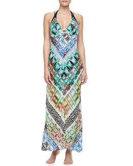 Milly Charlevoid Print Deep V-Neck Maxi Coverup Dress