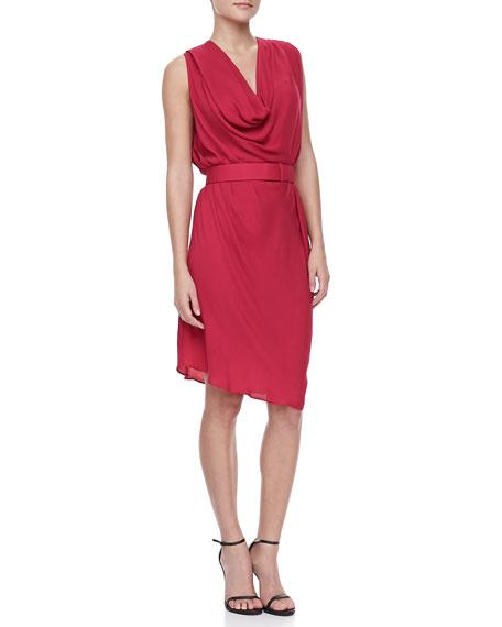 Sleeveless Belted Dress, Raspberry