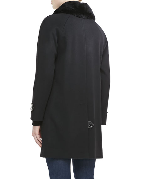 Balmacaan Coat with Fur Collar