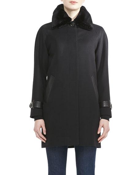 Balmacaan Coat with Fur Collar