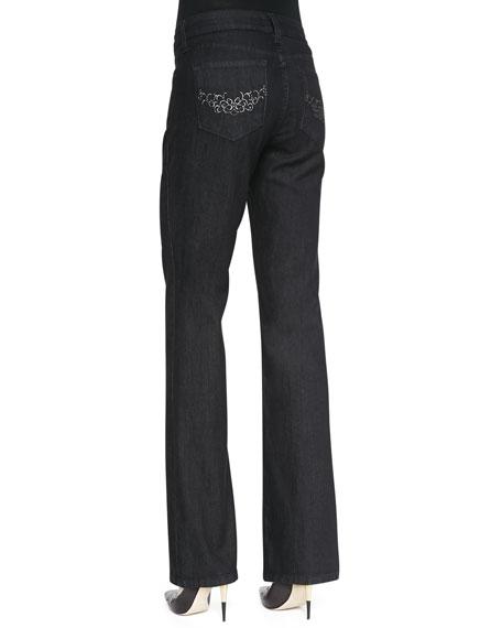Barbara Dark Enzyme Boot-Cut Jeans, Petite