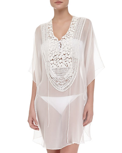 Miguelina Florence Silk Embroidered Coverup
