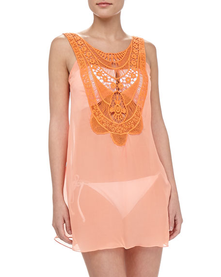 Leighanne Sheer Embroidered Coverup