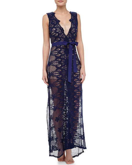 Eve Partially Lined Crochet Maxi Dress
