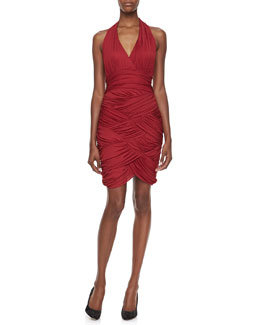 Halston Heritage Woven Ruched Halter Dress, Paprika