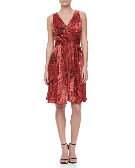 Sleeveless Accordion-Pleated Dress, Pomegranate