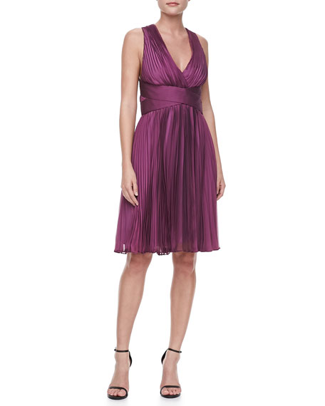 Halter Accordion-Pleated V-Neck Dress, Orchid