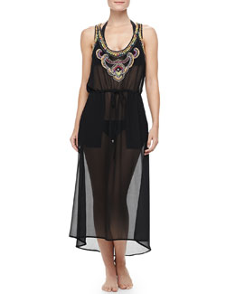 6 Shore Road Third-Eye Chiffon Beaded-Trim Sleeveless Coverup Dress