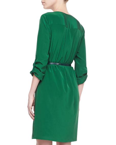 Rubella Belted Silk Dress