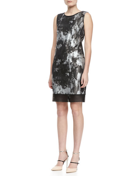Venezia Jacquard Leather-Trim Dress