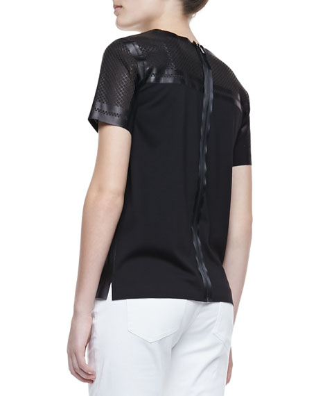 Sandra Leather Short-Sleeve Cutout Blouse