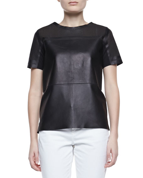 Sandra Leather Short-Sleeve Cutout Blouse