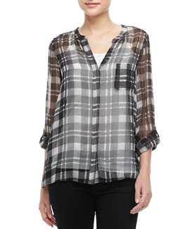 Joie Nepal Sheer Plaid Top