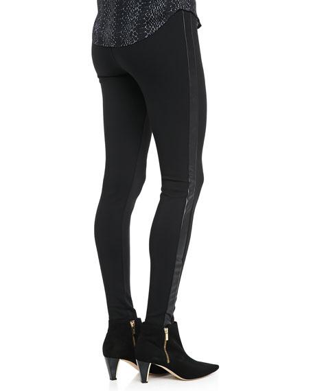 Keena Faux-Leather-Side Ponte Pants