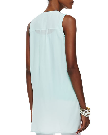 Sleeveless Silk Button-Front Top