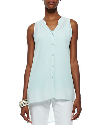 Sleeveless Silk Button-Front Top, Women's
