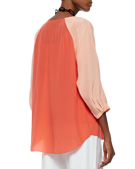 3/4-Sleeve Silk Colorblock Top, Petite