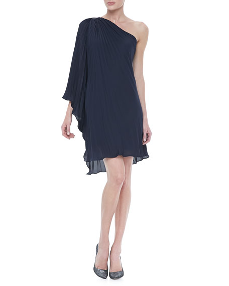 Pleated One-Shoulder Dress, Navy