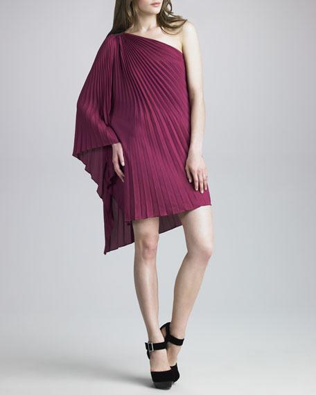 Pleated One-Shoulder Dress, Plum
