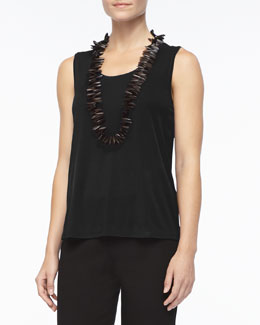 Eileen Fisher Stretch Silk Jersey Tank, Black